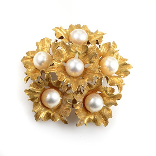 Brooch 18k Floral (Buccellati 18K Yellow Gold Pearl Floral Bouquet Brooch)