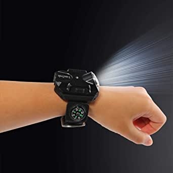 FomaTrade Super Bright Wrist LED Light Rechargeable Waterproof LED Flashlight Wristlight,Watch Flashlight with Compass Tactical Flashlights for Outdoor Running, Hiking, Camping, Biking(Black)