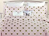 Nicole Miller All Season Girls 5-Piece FULL/QUEEN Comforter Set | Glittering Metallic Gold Hearts on Pink | Machine Washable