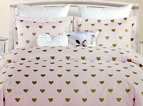 Nicole Miller All Season Girls 5-Piece FULL/QUEEN Comforter Set | Glittering Metallic Gold Hearts on Pink | Machine Washable (5 Pink Piece Hearts)