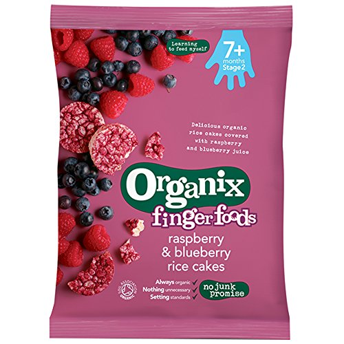 Organix – Stage 2 From 7 Months – Fingerfoods – Raspberry & Blueberry Rice Cakes – 50g
