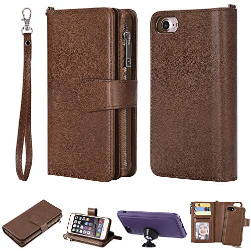 AICEDA iPhone 7 iPhone 8 Case, [Portable Wallet ] [ Slim Fit ] Heavy Duty Protective Pouch Flip Cover Wallet Case Replacement for iPhone 7 iPhone 8 - Brown