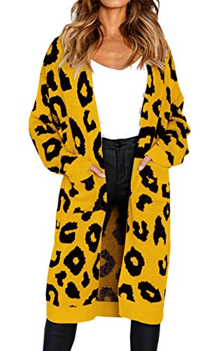 Angashion Women's Long Sleeves Leopard Print Knitting Cardigan Open Front Warm Sweater Outwear Coats with Pocket Yellow M