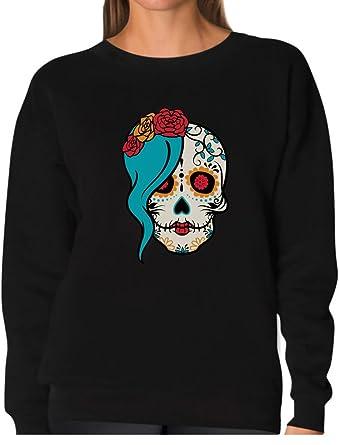 54ddea23 Tstars - Mrs. Sugar Skull Day of The Dead Gothic Women Sweatshirt Small  Black