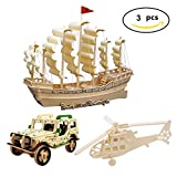 wooden ship model kits to build - 3D Wooden Puzzle Toy, Mini Ship Boat Model Puzzle Build Car Fighter Plane Model Kit Toy Best Gift for Adult and Children, 3 Set