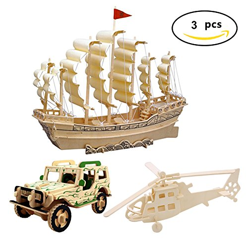3D Wooden Puzzle Toy, Mini Ship Boat Model Puzzle Build Car Fighter Plane Model Kit Toy Best Gift for Adult and Children, 3 Set Mini Wooden Cars