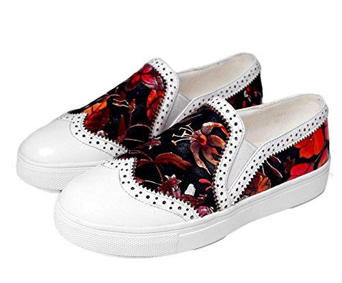 Spring New Frauen S Erste Schicht der Leder flach Ferse rund tief geblümt Casual Schuhe weiß