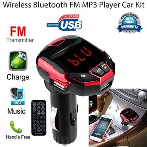 Gotd Wireless Bluetooth LCD FM Transmitter Modulator USB Car Kit MP3 Player SD Remote (Red)