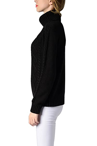 9d095abe896b Sophieer Womens Sweaters Cable Knit Vintage Turtleneck Pullover Long Sleeve  Jumper S-XXL at Amazon Women s Clothing store