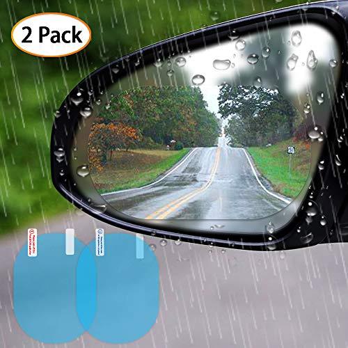 Viesyled Car Rear view Mirror Protective Film Waterproof Film, Anti-Fog HD Car Rearview Mirror Decal Rainproof, Anti-Glare, Anti-Scratch Clear Protective Film for Car Rearview Side Mirror Glass 2 Pack