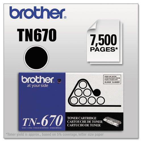 Brotheramp;reg; - TN670 High-Yield Toner, 7500 Page-Yield, Black - Sold As 1 Each - Longer-lasting, high-yield toner. (High Tn670 Yield)