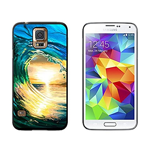Ocean Wave Surfer Sunset - Snap On Hard Protective Case for Samsung Galaxy S5 - Black (Otterbox Samsung Galaxy S5 Skin)