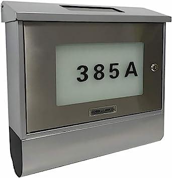 T/ür Edelstahl Solar Briefkasten silber Solarbriefkasten Postkasten Wandbriefkasten Zeitungsfach und beleuchtete Hausnummer