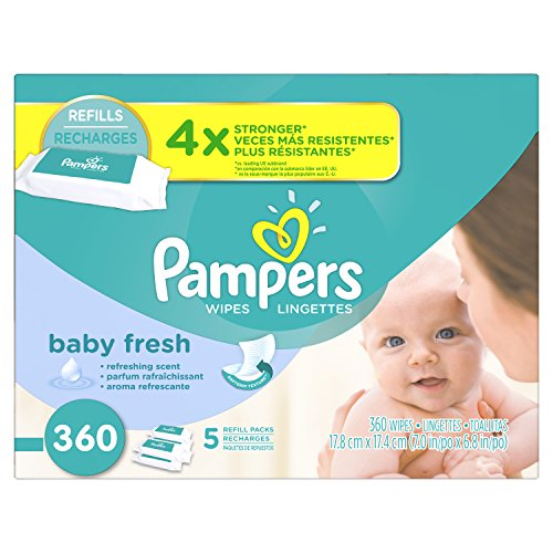 Pampers Baby Fresh Water Baby Wipes 5X Refill Packs, 360 (Alcohol Free Roll)