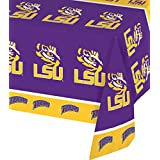"Creative Converting 720838 Collegiate Plastic Table Cover, Louisiana State University, Purple/Gold, 54 by 108"", Beverage Napkin"
