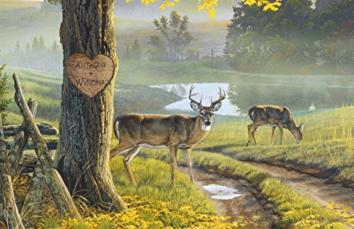 Art Personalized Name Prints (Personalized Whitetail Deer Poster Print | Personalized Artwork With Couples Names | Gift for Newly Weds or Anniversaries)