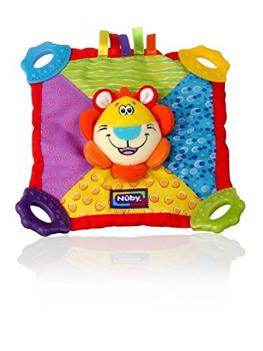 Nuby Teething Blankie. Squeak & Crinkle Teether & Blanket, Lion