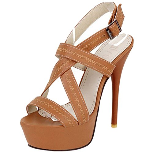 TAOFFEN Women Elegant Platform Slingback Buckle Strap Party Stiletto Heel Sandals apricot x6vNv1
