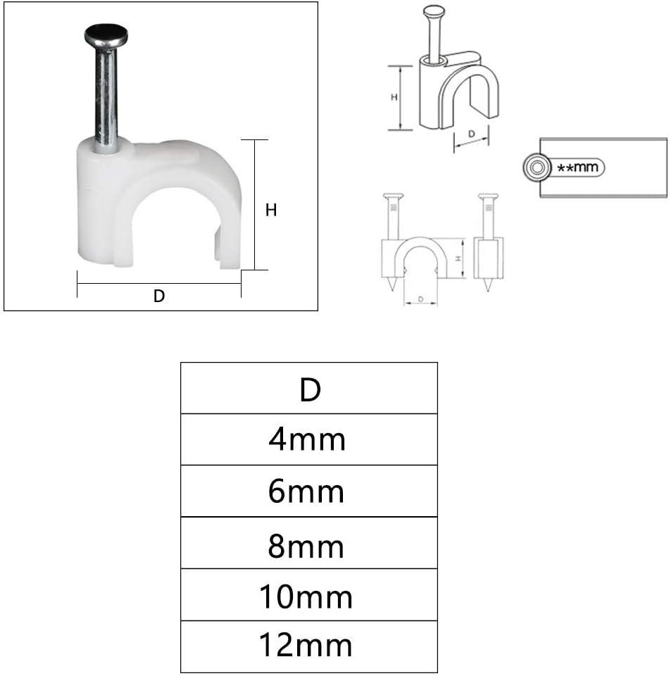 10 mm 12 mm Clips de Clou Avec Clous en Acier Ronds Pour la Gestion Des C/âbles 4 mm 500, 8mm 6 mm 8 mm MOAMUN 500pcs Attache-c/âble Ronde avec Clou en Acier 14 mm