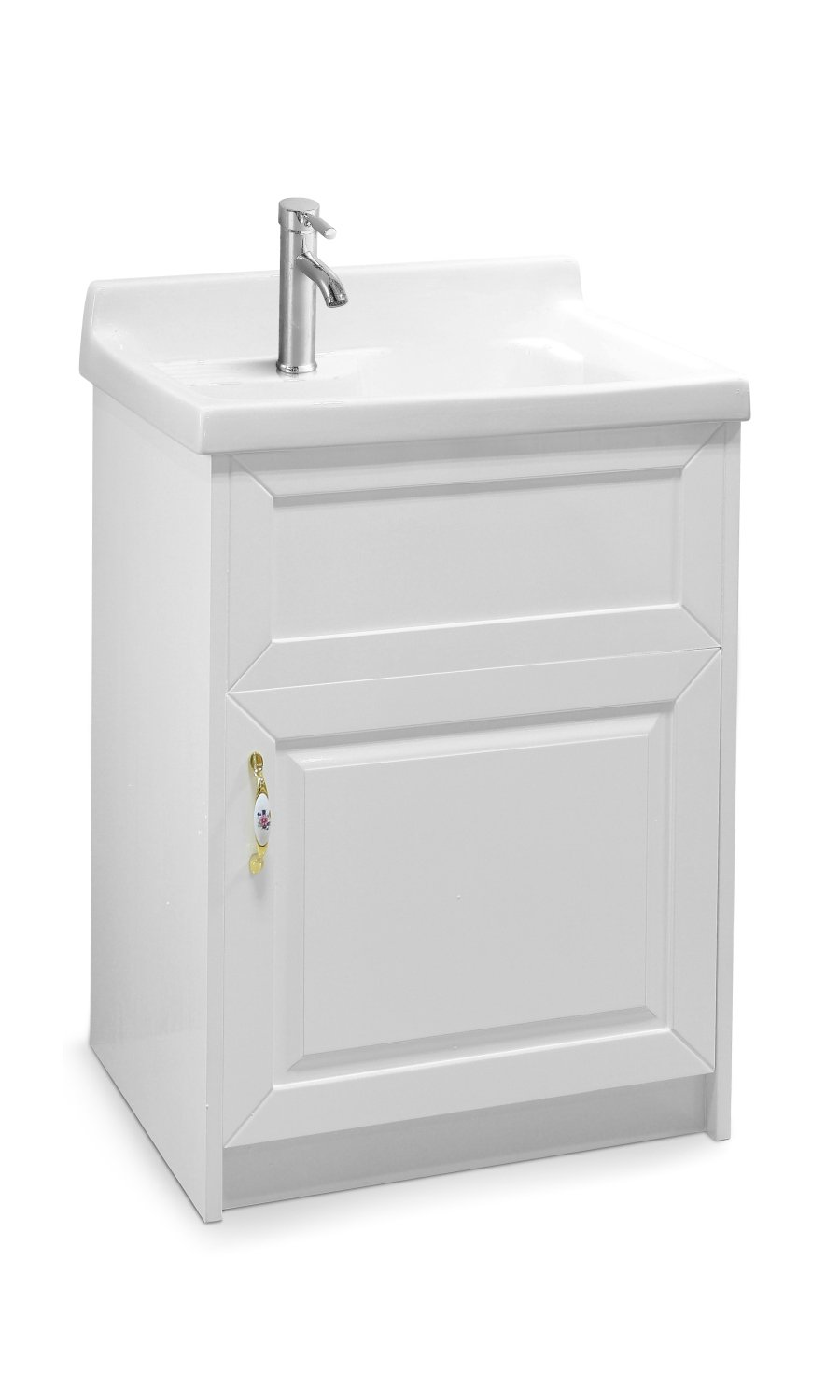 sink ALEXANDER 24'' WHITE Utility Sink - Modern Mop Slop Tub Deep Sink Ceramic Laundry Room Vanity Cabinet Contemporary Hardwood Hard by www.LuxuryModernHome.com