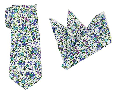 (Mens Charm Various Florals Cotton Tie Set:Neckite with Pocket Square (Forest Green with Kelly Green))