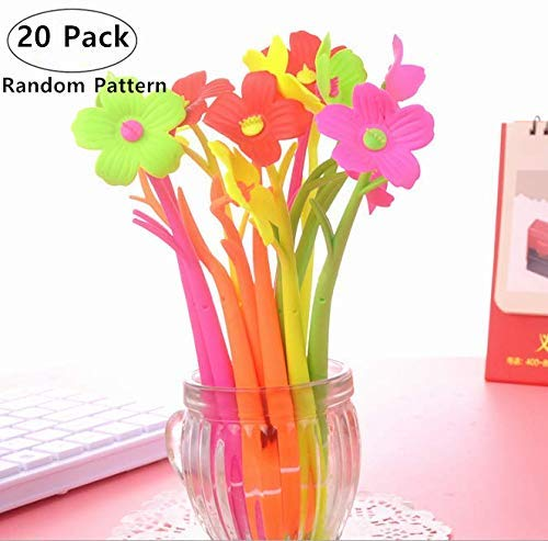 20 Pieces Novelty Mixed Styles Flower Plant Shaped Gel Ink Pens, Magnolora Creative Rollerball Pens Office Supplies Students Stationery Ballpoint Pens, Black Ink, Fine Point 0.5mm