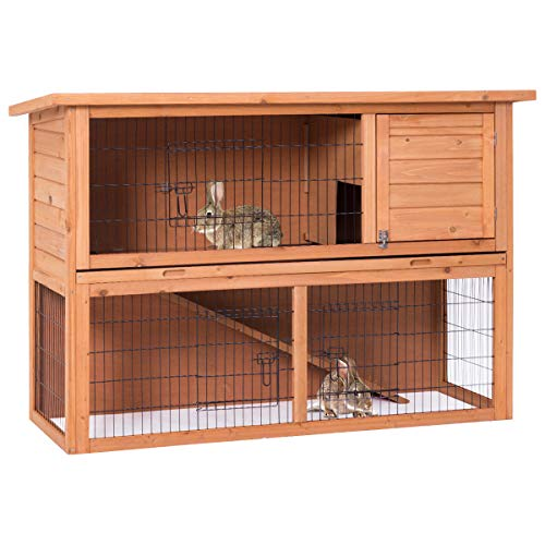 Tangkula Rabbit Hutch Large Chicken Coop Wood Outdoor Garden Backyard Hen House Rabbit Hutch Poultry Small Animal Cage (Natural Wood)