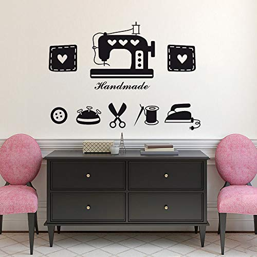 - KVKVCC Wall Sticker Clothes Shop Window Decal Tailor's Shop Vinyl Wall Sticker Sewing Machine Iron Scissors Wall Mural Sewing Store Decor 8057 cm