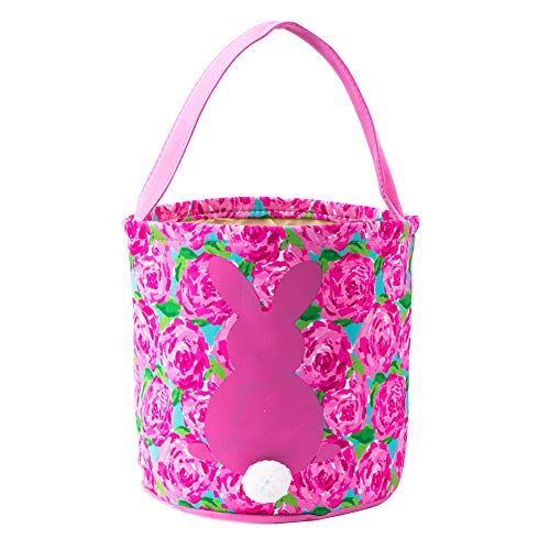 HLIKEM Easter Bunny Bags for Kids Cloth Easter Eggs/Gift Basket Easter Party Tote Bags for Kids (Pink a)