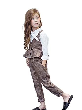 6ad99cdd828da 子供服 セットアップ 女の子 チェック柄 女の子 スーツ キッズ  ベスト・長ズボン