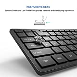 Bluetooth Keyboard, Vive Comb Rechargeable Ultra Slim BT Wireless Keyboard with Number Pad Full Size Design for Laptop Desktop PC Tablet, Windows iOS Android-Black