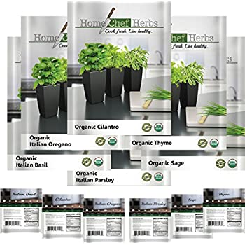 Herb Seeds – 100% USDA Organic, NON GMO Variety Seed Pack – Product of U.S.A. Packaging & Materials Designed For Home Cooks & Beginners - Include: Basil, Cilantro, Oregano, Parsley, Thyme, Sage