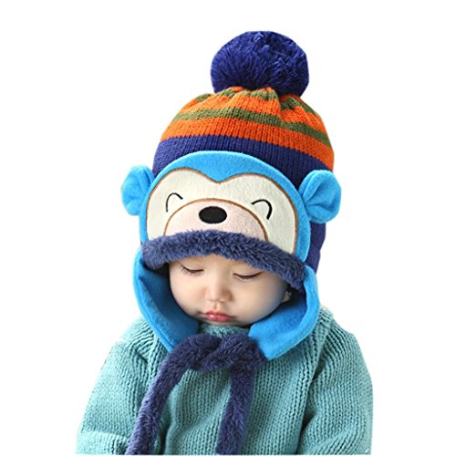 Ussore 1PC Baby Kid Girls Children Headwear Autumn Keep Warm Winter Knitted Ear Thick Knit Beanie Monkey Cap Hat (Blue) (New Era Camper Hat)