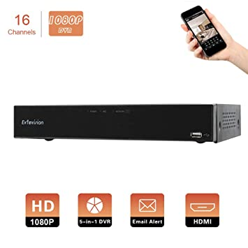Evtevision 16CH AHD/TVI/CVI/Analog/IP 1080P 2.0MP Digital Video Recorder Realtime CCTV Security DVR Remote Access,QR Scan,Motion Detection,Alarm-Fits ...