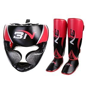 MonkeyJack Adult Boxing Helmet Headgear & Shin Instep Pads MMA Foot Guards Kickboxing Guard Protector