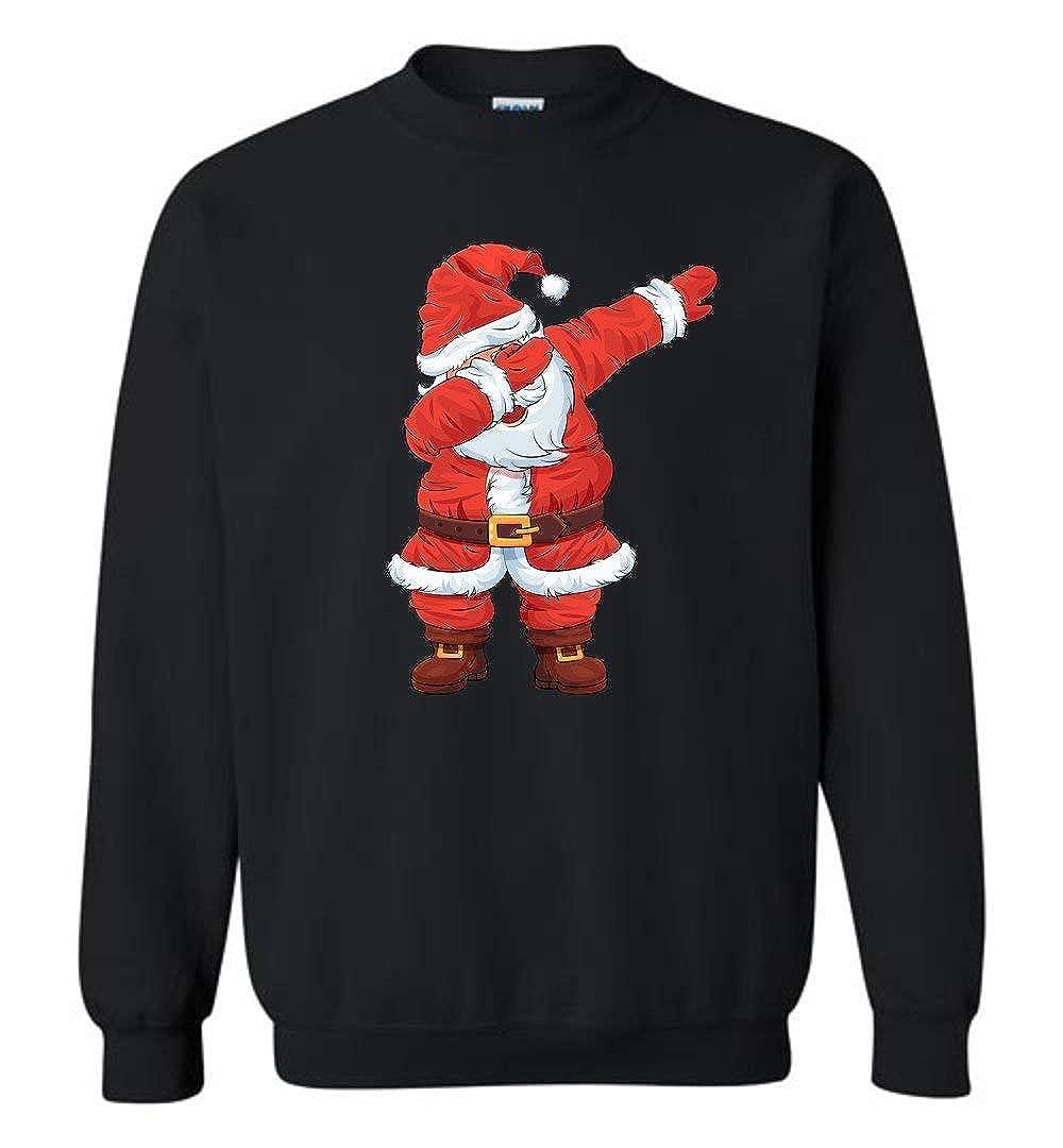 2ae34bec44d2 Amazon.com  Threads Basket Christmas Dabbing Santa - Funny Santa Claus Xmas  Dab Sweater Unisex Crewneck Pullover Sweatshirt Men Women  Clothing