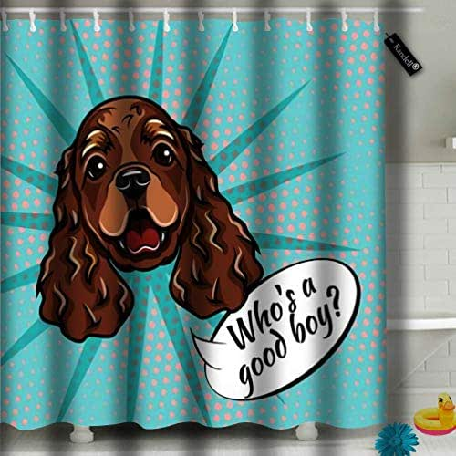 txregxy Bathroom Curtains Shower Curtain Cocker Spaniel Portrait Dog Muzzle Face Head Who is Good Boy Bathroom Decor Set with Hooks 72 by 10005 Inches 72