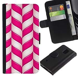 KingStore / Leather Etui en cuir / Samsung Galaxy S5 V SM-G900 / Caña Pink White Lines Rayas de Navidad;