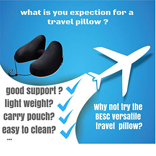 BESC Inflatable Travel Pillow for Airplanes - Multinational Traveling Neck Pillow Set with Hood for Women Men Kids - Soft Small Portable Supports Head Chin (Black) by BESC (Image #1)