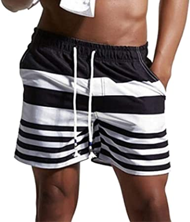 DIOMOR Classic Black Striped Quick Dry Swim Trunks for Men Elastic Waist Beach Shorts Bathing Suit with Pockets