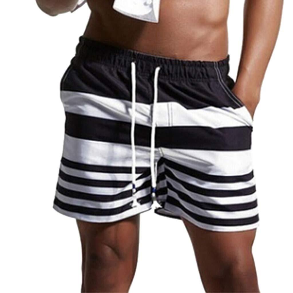 NUWFOR Men Casual Splice Stripe Beach Work Casual Men Short Trouser Shorts Pants(Black,US:M Waist33.46'')