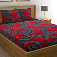 DECO READY Floral Design Print Cotton King Size Double Bedsheet,Set of 1 Bedsheet and 2 Pillow Covers
