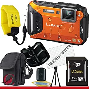 Panasonic Lumix DMC-TS5 Digital Camera (Orange) 16GB Package