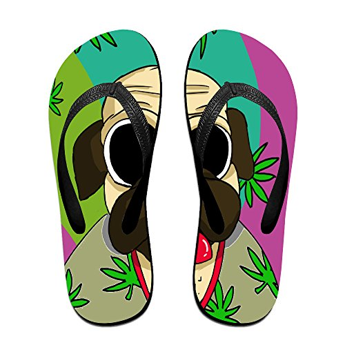 86540c3c4b4bd hot sale Funny Hot Weed Leaf Pug Unisex Fashion Beach Slipper Indoor And  Outdoor Classical Flip