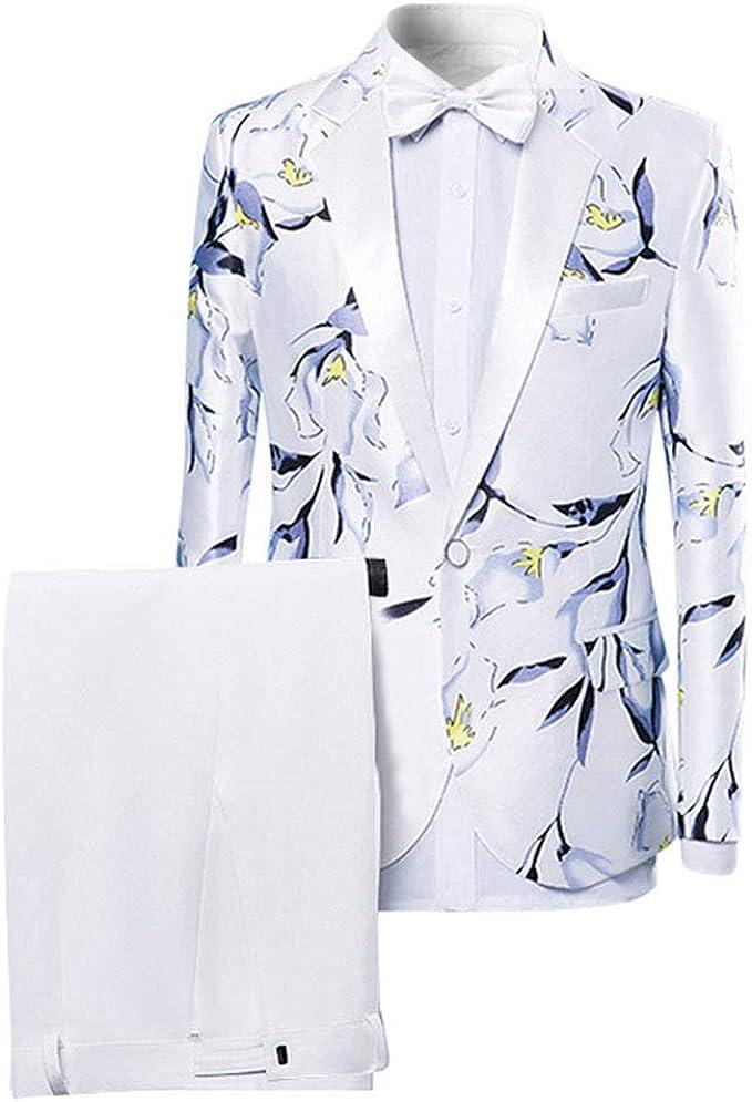 Amazon.com: Blazer floral de un solo botón para hombre ...