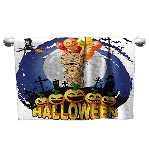 (Baby Beach Towel Halloween Design Template with Mummy with Balloons Hair Towels for Women Gym Towels 8 x 24)