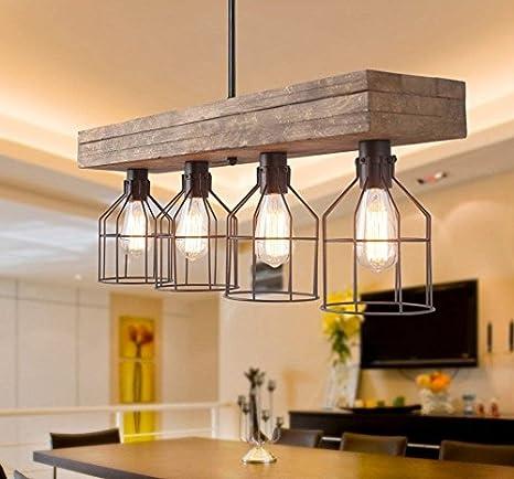 Amazon.com: Decomust - Lámpara de techo vintage de madera ...