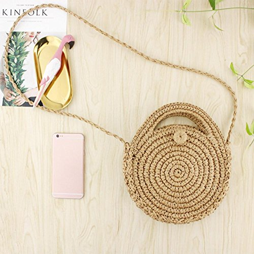 Zipper Travel Bag Women Beach Light Brown Retro Shoulder Round Crossbody Handbags Straw Prosperveil p6A4qxwUq