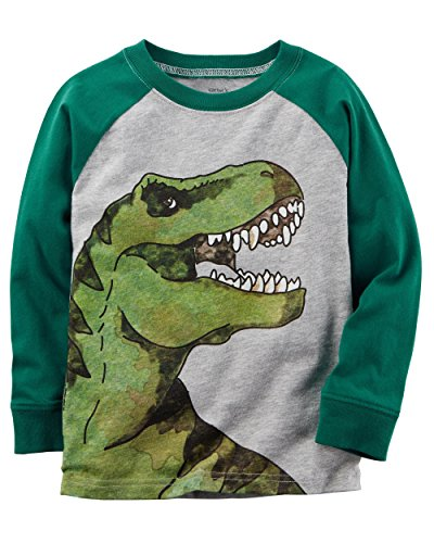 Carter's Boys' 2T- 8 Long Sleeve Dinosaur Raglan Tee 2T Carters Long Sleeve Raglan Tee