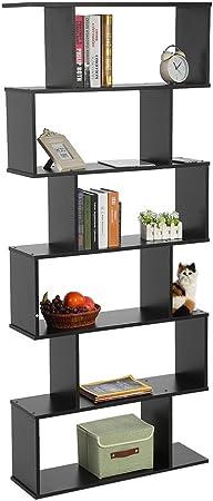 Cocoarm Biblioteca Estante de Libros Estante Escalera de 6 Niveles Mueble Almacenamiento S diseño Mesa para salón habitación Estudio 80 * 24 * 190 cm Blanco/Negro: Amazon.es: Hogar